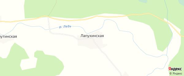 Карта Лапухинской деревни в Архангельской области с улицами и номерами домов