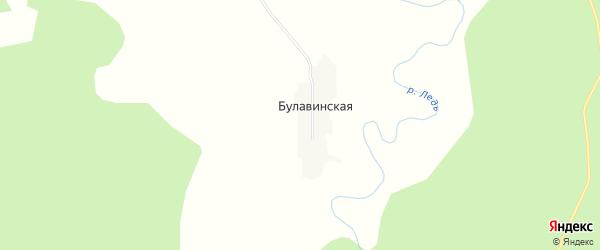 Карта Булавинской деревни в Архангельской области с улицами и номерами домов