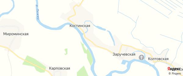 Карта Заручевской деревни в Архангельской области с улицами и номерами домов