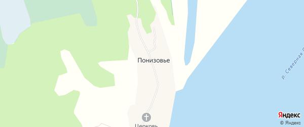 Карта деревни Понизовья в Архангельской области с улицами и номерами домов