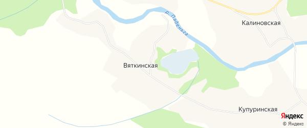 Карта Вяткинской деревни в Архангельской области с улицами и номерами домов