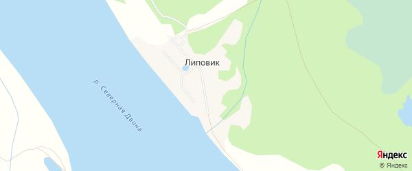 Карта поселка Липовика в Архангельской области с улицами и номерами домов