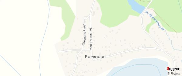 Тепличный переулок на карте Ежевской деревни с номерами домов