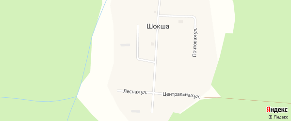 Набережная улица на карте поселка Шокши с номерами домов