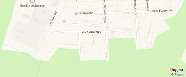 Переулок Лермонтова на карте Вельска с номерами домов