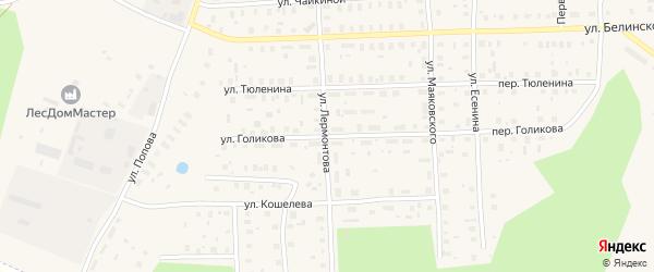 Улица Голикова на карте Вельска с номерами домов