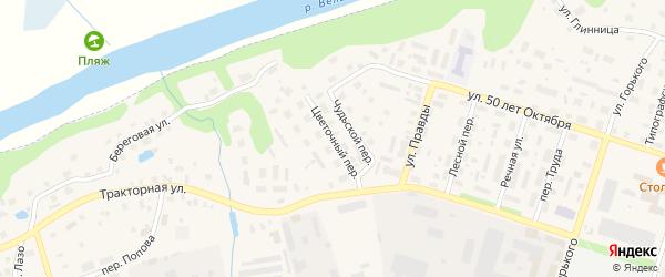Цветочный переулок на карте Вельска с номерами домов