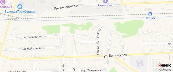 Переулок Кошевого на карте Вельска с номерами домов