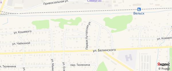Хуторская 1-я улица на карте Вельска с номерами домов
