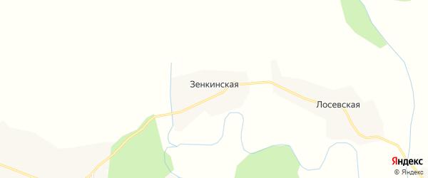 Карта Зенкинской деревни в Архангельской области с улицами и номерами домов