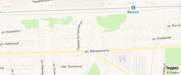 Хуторская 2-я улица на карте Вельска с номерами домов
