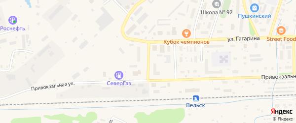 Привокзальный переулок на карте Вельска с номерами домов