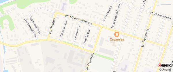 Переулок Труда на карте Вельска с номерами домов