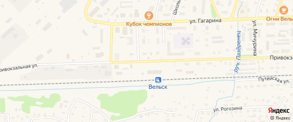 Привокзальная улица на карте железнодорожной станции Синеги с номерами домов