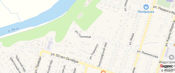 Улица Глинница на карте Вельска с номерами домов