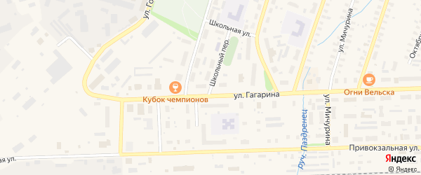 Школьный переулок на карте Вельска с номерами домов