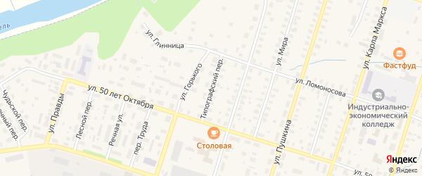 Типографский переулок на карте Вельска с номерами домов