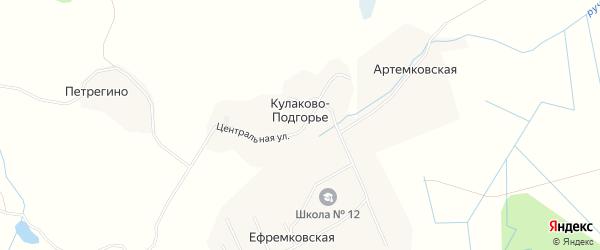 Карта деревни Кулаково-Подгорья в Архангельской области с улицами и номерами домов