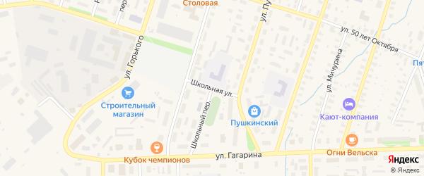 Школьная улица на карте железнодорожной станции Келаревой Горки с номерами домов