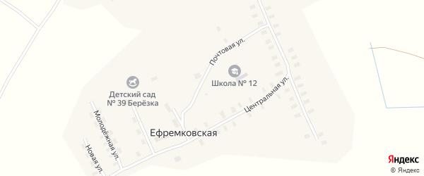 Центральная улица на карте Ефремковской деревни с номерами домов