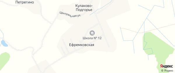Карта Ефремковской деревни в Архангельской области с улицами и номерами домов