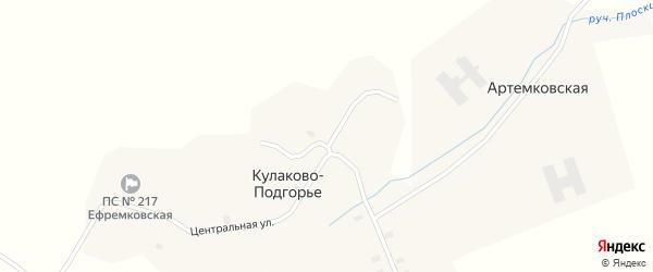 Центральная улица на карте деревни Кулаково-Подгорья с номерами домов