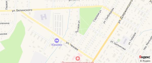 Луговая улица на карте Вельска с номерами домов