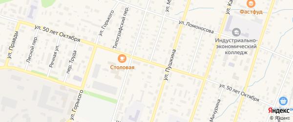 Улица 50 лет Октября на карте Вельска с номерами домов