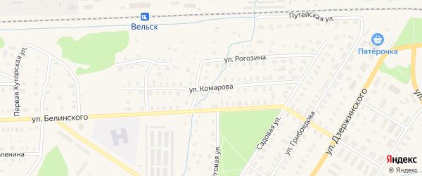 Улица Комарова на карте Вельска с номерами домов