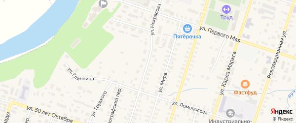 Улица Некрасова на карте Вельска с номерами домов