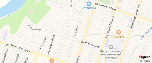 Улица Мира на карте Вельска с номерами домов