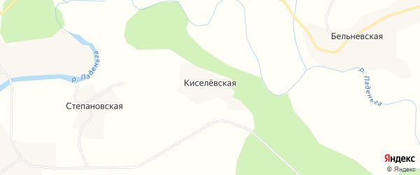 Карта Киселевской деревни в Архангельской области с улицами и номерами домов