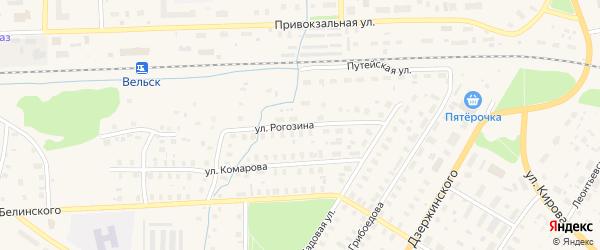 Улица Рогозина на карте Вельска с номерами домов