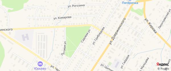 Садовая улица на карте Вельска с номерами домов