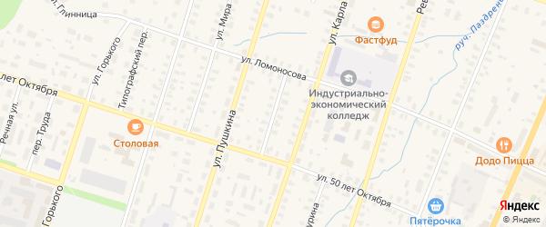 Пушкинский переулок на карте Вельска с номерами домов