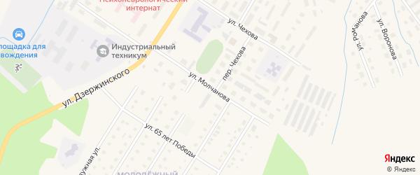 Улица Молчанова на карте Вельска с номерами домов