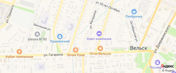 Улица Мичурина на карте Вельска с номерами домов