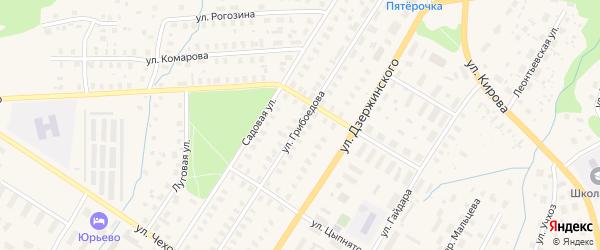 Улица Грибоедова на карте Вельска с номерами домов