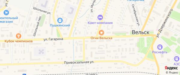 Улица Гагарина на карте железнодорожной станции Юры с номерами домов