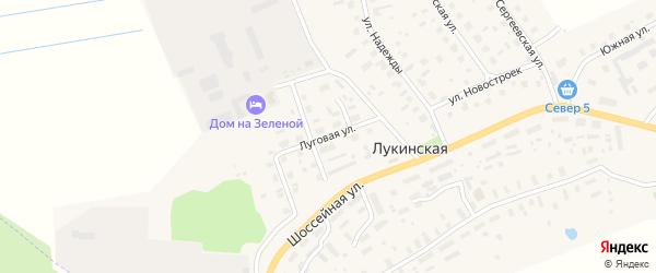 Луговая улица на карте Лукинской деревни с номерами домов