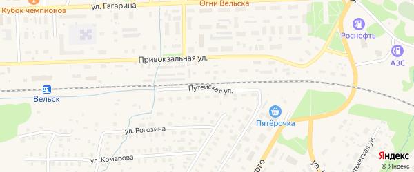 Путейская улица на карте Вельска с номерами домов