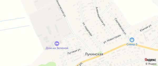 Техническая улица на карте Лукинской деревни с номерами домов