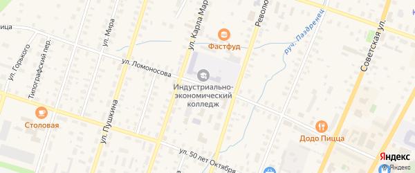 Улица Ломоносова на карте Вельска с номерами домов