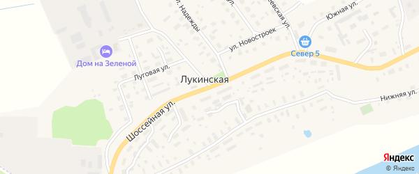 Шоссейная улица на карте Лукинской деревни с номерами домов