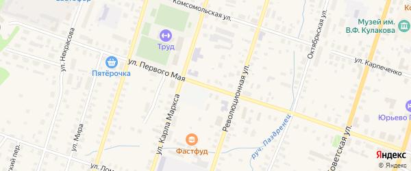 1 Мая улица на карте Вельска с номерами домов