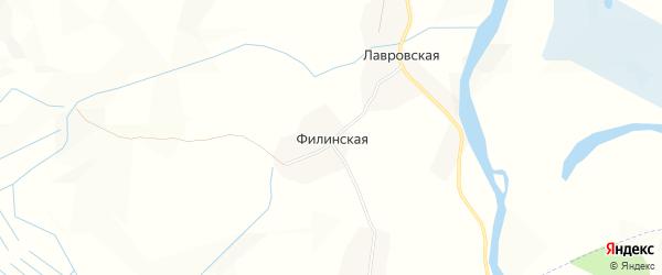 Карта Филинской деревни в Архангельской области с улицами и номерами домов