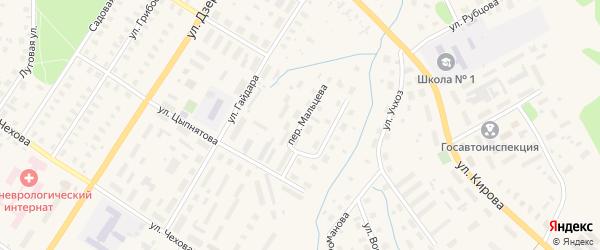 Переулок Мальцева на карте Вельска с номерами домов