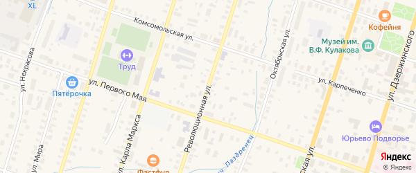 Революционная улица на карте Вельска с номерами домов