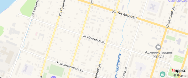 Улица Нечаевского на карте Вельска с номерами домов