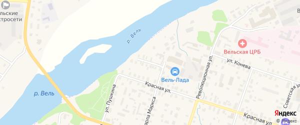 Переулок Матросова на карте Вельска с номерами домов